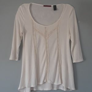 BKEred lace crochet accent flowy 3/4 sleeve blouse